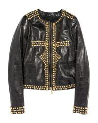 Just Cavalli | Black Studded Leather Jacket | Lyst