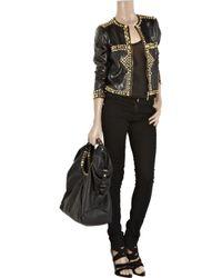 Just Cavalli - Black Studded Leather Jacket - Lyst