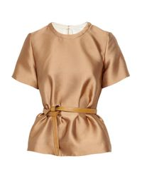 3.1 Phillip Lim | Brown Belted Satin Peplum Top | Lyst