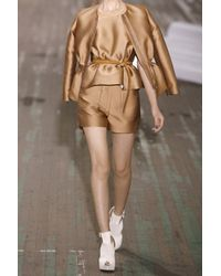 3.1 Phillip Lim - Brown Belted Satin Peplum Top - Lyst