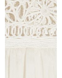 Adam Lippes - White Crocheted Lace and Silk-chiffon Maxi Dress - Lyst