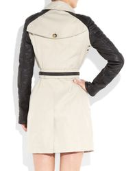 Burberry Prorsum - Natural Leather and Cotton Trench Coat - Lyst