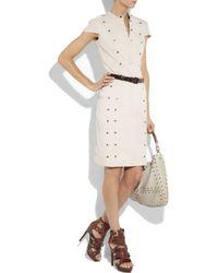 Burberry Prorsum - Natural Rivet-embellished Stretch-linen Dress - Lyst