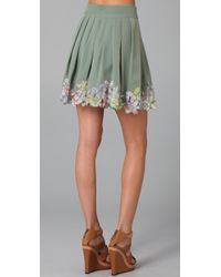 Catherine Malandrino | Green Pleated Skirt | Lyst