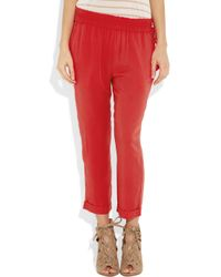 Elizabeth and James | Red Sloan Cropped Brushed-twill Pants | Lyst