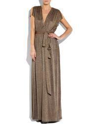 Halston - Brown Metallic Ruched Jersey Gown - Lyst
