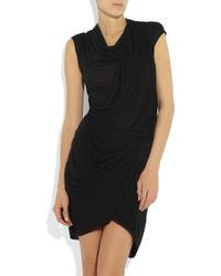 Helmut Lang - Black Twisted Draped Jersey Dress - Lyst