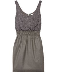 J.Crew | Gray Aurelia Embellished Silk and Wool Dress | Lyst