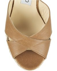 Jimmy Choo | Brown Phyllis Leather Espadrille Mules | Lyst