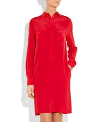 JOSEPH - Red Pocketed Silk Crepe De Chine Shirt Dress - Lyst