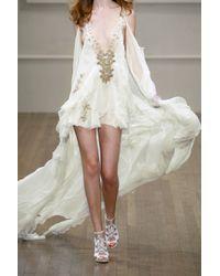 Julien Macdonald - Natural Peignoir Silk-blend Chiffon Gown - Lyst