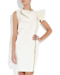 Lanvin | White Bow-embellished Crepe Dress | Lyst