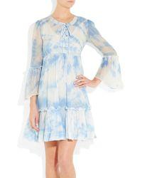 Leaves Of Grass | Blue Arabesque Tie-dye Silk-georgette Dress | Lyst