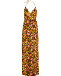 MILLY - Multicolor Leah Chain Halter Maxi Dress - Lyst