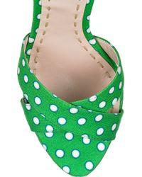 Miu Miu - Green Polka-Dot Satin-Twill Sandals - Lyst