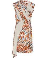 Peter Pilotto | Orange Thessa Silk-twill and Fine-knit Cotton Dress | Lyst