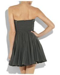 Rebecca Taylor | Gray Strapless Silk Bustier Dress | Lyst