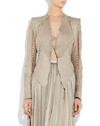 Roberto Cavalli | Natural Lace-up Patchwork Leather Jacket | Lyst