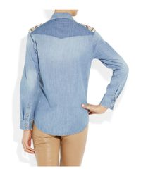 Sandro | Blue Beaded Denim Shirt | Lyst