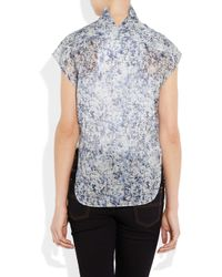 Theyskens' Theory | Blue Beyo Printed Cotton-voile Blouse | Lyst