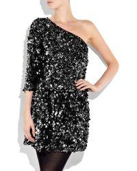 Tibi | Black One-shoulder Sequined Silk Dress | Lyst