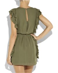 Tibi - Green Silk Ruffle Dress - Lyst