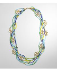 Tory Burch - Blue Multistrand Large Clover Necklace - Lyst