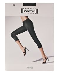 Wolford | Black Aimee Cropped Satin-jersey Leggings | Lyst
