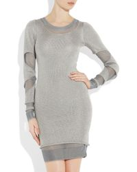 Zac Posen | Silver Cutout Metallic Sweater Dress | Lyst