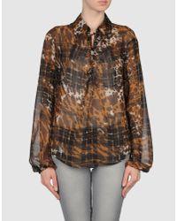 ESCADA   Brown Floral Tunic Blouse   Lyst