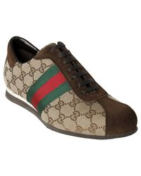 Gucci | Natural Beige Gg Canvas Web Stripe Sneakers for Men | Lyst
