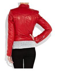 JOSEPH - Red Perfeto Leather Biker Jacket - Lyst
