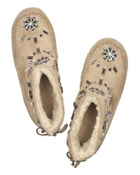 Tory Burch | Natural Embellished Suede Moccasin Boots | Lyst