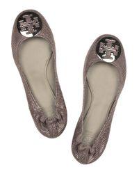 Tory Burch - Brown Reva Leather Ballerina Flats - Lyst
