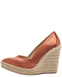 Pedro Garcia | Natural Frayed Satin Espadrille Wedge | Lyst