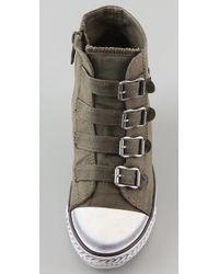 Ash - Green Genial Wedge Canvas Casual Shoe : Khaki - Lyst