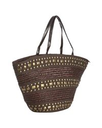 Big Buddha | Brown Straw Woven Malibu Studded Tote | Lyst