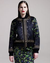 Givenchy | Blue Panther-print Bomber Jacket | Lyst