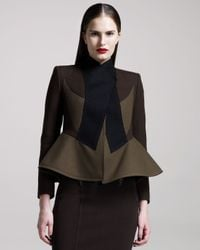 Givenchy | Brown Colorblock Peplum Jacket | Lyst