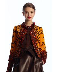 Oscar de la Renta | Brown Ombre Embroidered Jacket | Lyst