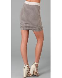 T By Alexander Wang | Gray Striped Ruched Skirt | Lyst