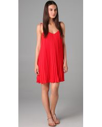 Halston | Red Pleated Chiffon Dress | Lyst