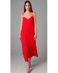 Halston | Red Spaghetti Strap Pleated Maxi Dress | Lyst