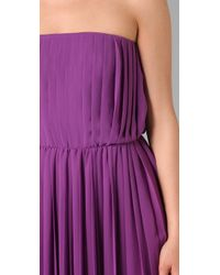 Halston - Purple Strapless Pleated Dress - Lyst