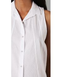 Helmut Lang | White Hi Lo Sleeveless Shirt | Lyst