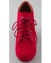Jeffrey Campbell - Red 99 Lace Up Wedge Booties - Lyst