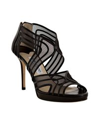 Jimmy Choo | Black Leather and Mesh Miles Sandals | Lyst