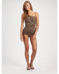Michael Kors - Brown Draped One-piece Swimsuit - Lyst