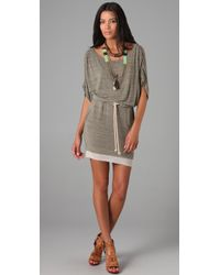 Mike Gonzalez - Gray Ana Belted Mini Dress - Lyst
