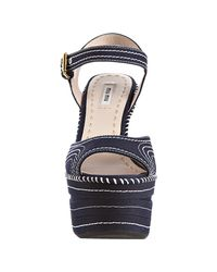 Miu Miu - Blue Contrast Stitch Wedge - Lyst
